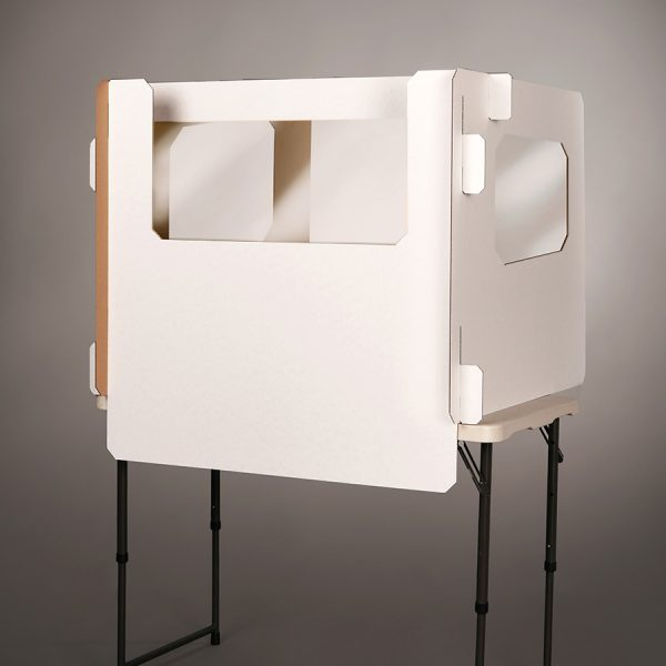 white Ecorr Desk Divider® corrugated desk divider with windows in the sides and plastic shields to protect students in classrooms