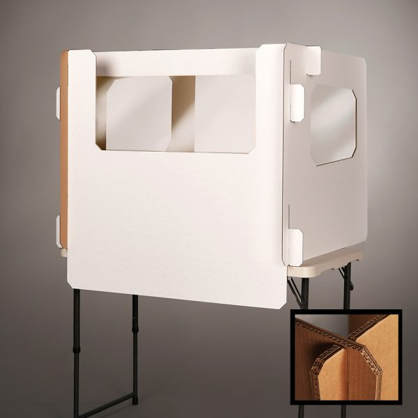 white Ecorr Desk Divider® corrugated desk divider with windows in the sides and plastic shields to protect students in classrooms | closeup image of reinforced strength corners for Ecorrboard®