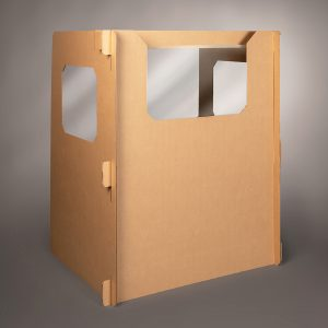 full length Ecorr Desk Divider® corrugated desk divider with windows in the sides and plastic shields to protect students in classrooms