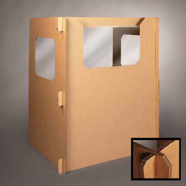 full length Ecorr Desk Divider® corrugated desk divider with windows in the sides and plastic shields to protect students in classrooms   closeup image of reinforced strength corners for Ecorrboard®